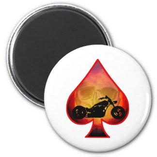Ace Spades Biker Skull Magnet