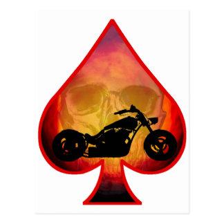 Ace Spades Biker Skull Postcard