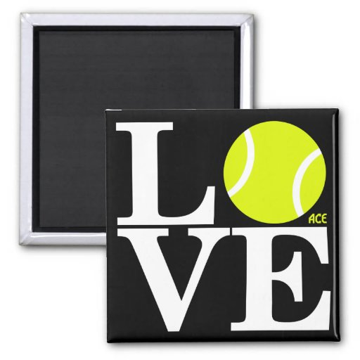 Ace Tennis LOVE 2 Inch Square Magnet