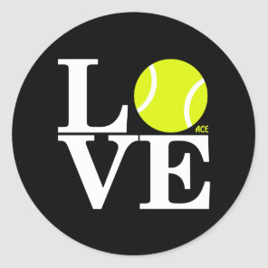 Ace Tennis LOVE Classic Round Sticker