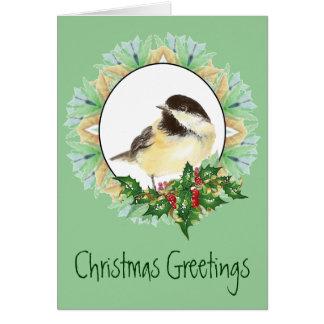 Acebo alegre del pájaro del Chickadee de la acuare Tarjeta