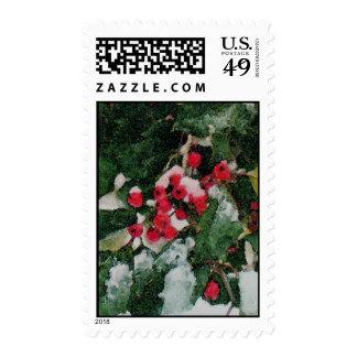 Acebo americano en invierno sellos