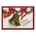 Acebo Bell - tarjeta de Navidad del vintage