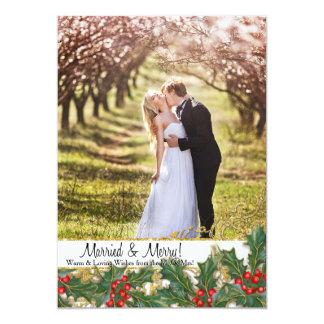 """Acebo casado de la foto del recién casado de las invitación 5"""" x 7"""""""