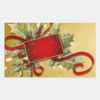 Acebo cintas y bayas - etiqueta de oro del regal