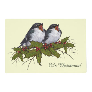 Acebo con los pájaros del canto, arte original del tapete individual
