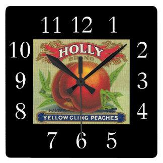 Acebo de la etiqueta del cajón de la fruta del reloj cuadrado