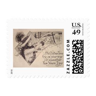 Acebo de la guadaña de la mujer del tiempo del timbres postales