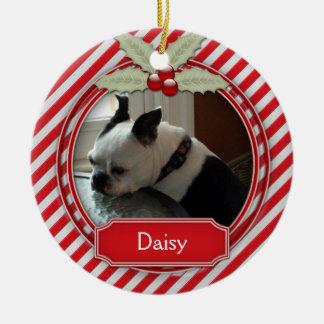 Acebo de la raya del bastón de caramelo del adorno navideño redondo de cerámica