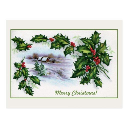 Acebo de las casas del navidad del vintage adornad postales