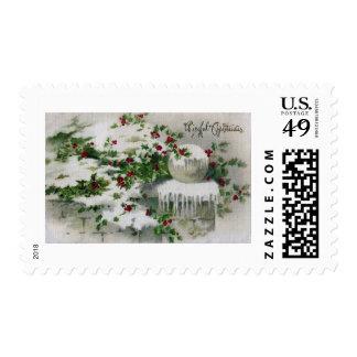 Acebo de las cubiertas de nieve en Navidad del Timbres Postales