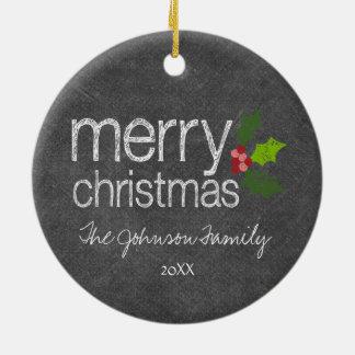 Acebo de las Felices Navidad del collage de la Adorno Redondo De Cerámica