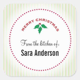 Acebo de las Felices Navidad, hornada Pegatina Cuadradas Personalizadas