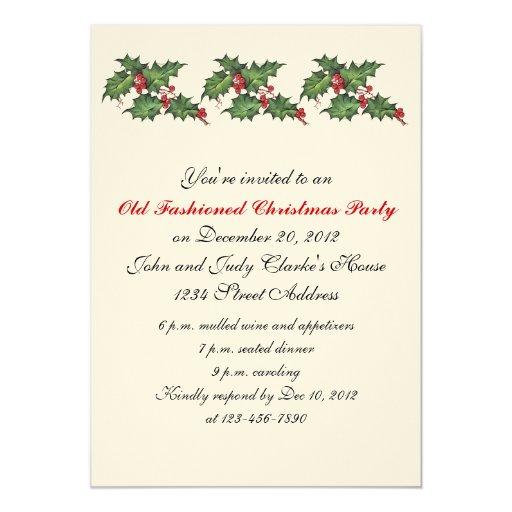 Acebo de las invitaciones de la fiesta de Navidad Invitaciones Personales