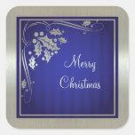 Acebo de plata y remolinos en navidad azul calcomanías cuadradass