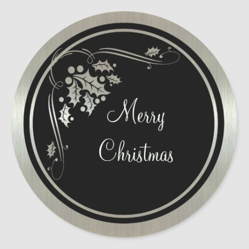 Acebo de plata y remolinos en navidad negro pegatinas redondas