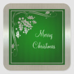 Acebo de plata y remolinos en navidad verde calcomanía cuadrada personalizada