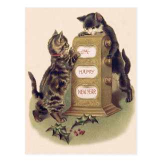 Acebo del calendario del gatito del gato tarjetas postales