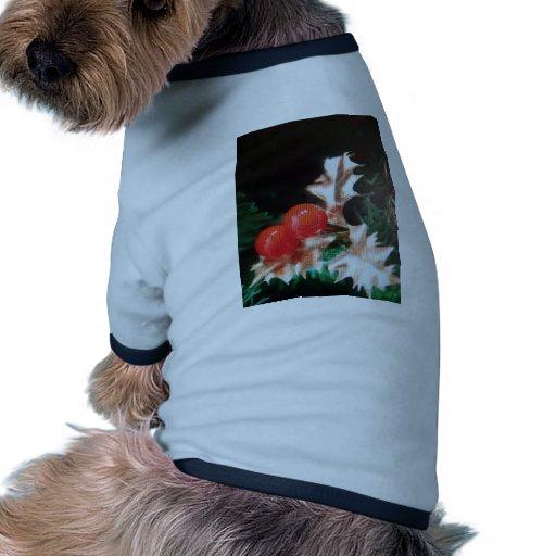 Acebo del navidad camisetas de perrito
