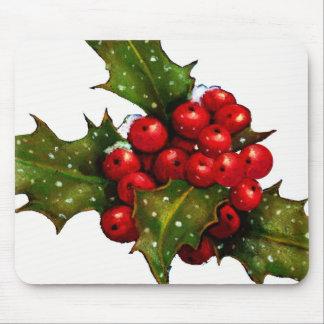 Acebo del navidad con las bayas y la nieve: Arte Mousepads