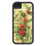 Acebo del navidad del vintage iPhone 5 Case-Mate carcasa