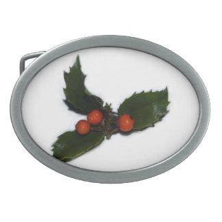 Acebo del navidad hebilla de cinturon oval
