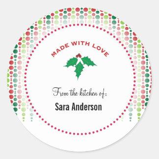 Acebo del navidad, personalizado de la cocina de pegatinas redondas