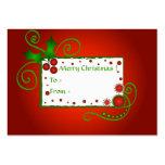 Acebo del navidad - tarjeta de etiqueta del regalo tarjetas de visita grandes