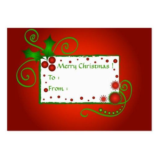 Acebo del navidad - tarjeta de etiqueta del regalo tarjetas de visita