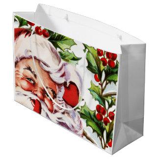 Acebo del vintage de Papá Noel elegante Bolsa De Regalo Grande