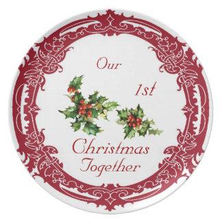 Acebo del vintage nuestra 1ra placa del navidad platos de comidas