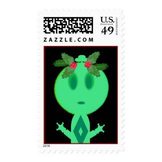 Acebo en pequeño hombre verde sellos