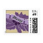 Acebo - púrpura y oro timbre postal