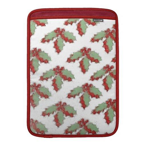 Acebo retro del navidad del estilo fundas macbook air