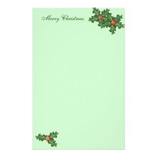 Acebo y bayas, papel de escribir del navidad papelería personalizada