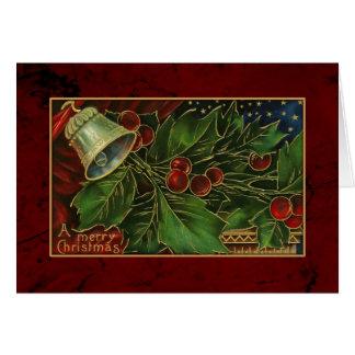 Acebo y Bell del navidad del vintage Tarjeta De Felicitación