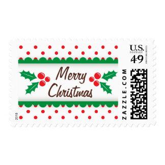 Acebo y franqueo rojo de las Felices Navidad de Timbres Postales