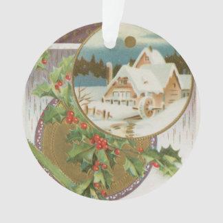 Acebo y granja del navidad del vintage