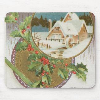 Acebo y granja del navidad del vintage alfombrillas de ratón