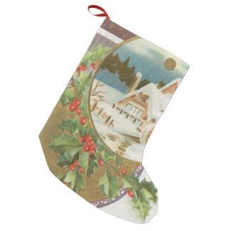 Acebo y granja del navidad del vintage bota navideña pequeña