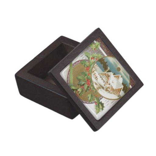 Acebo y granja del navidad del vintage cajas de joyas de calidad