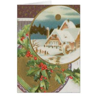 Acebo y granja del navidad del vintage tarjeta de felicitación