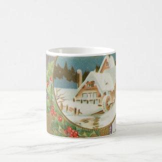 Acebo y granja del navidad del vintage taza básica blanca