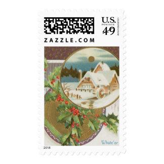Acebo y granja del navidad del vintage timbres postales
