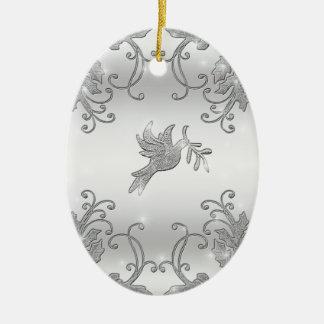 Acebo y paloma de plata adornos de navidad