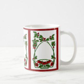 Acebo y Pointsettia del navidad Taza De Café