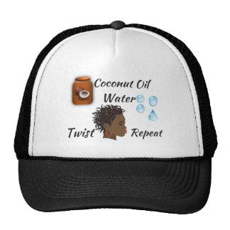 Aceite de coco, agua, torsión, repetición gorro de camionero