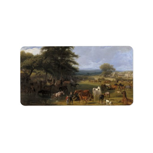 Aceite de la granja del caballo del señor río en l etiqueta de dirección
