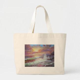 Aceite de la lona del paisaje marino 18x24 hermoso bolsa