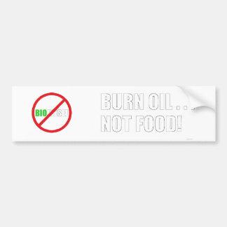 Aceite de la quemadura…. ¡No comida! Pegatina De Parachoque